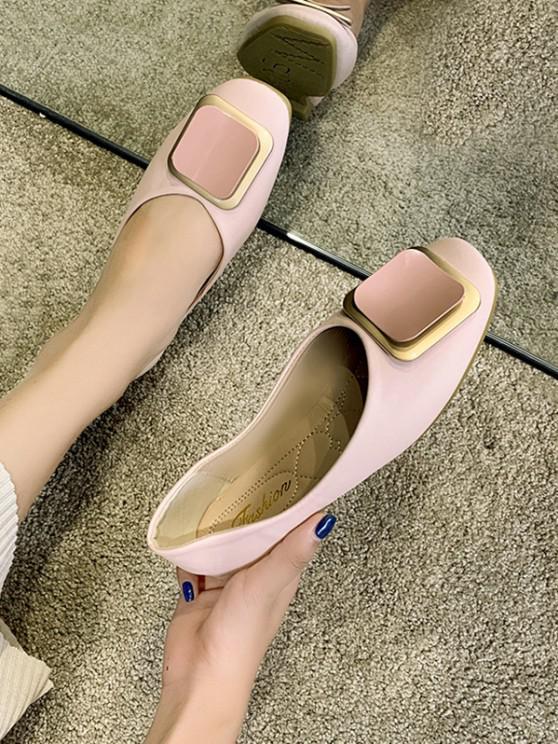 shops Square Buckle Leather Loafer Flats - LIGHT PINK EU 39