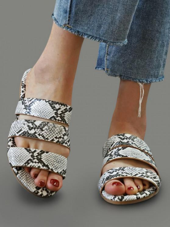 shops Snakeskin Pattern Beach Slides Sandals - WHITE EU 41