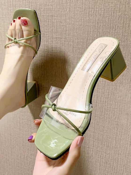 new Clear Vamp Block Heel Slides - CAMOUFLAGE GREEN EU 39