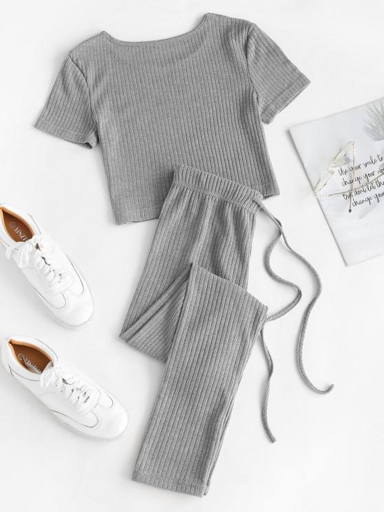 Ribbed Knit Crop Top And Leggings Set