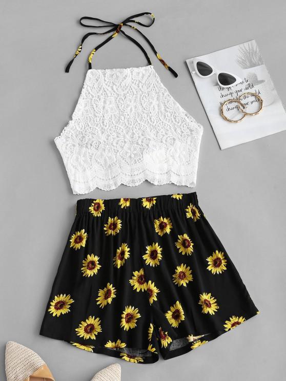 trendy Crochet Lace Sunflower Halter Two Piece Set - WHITE M
