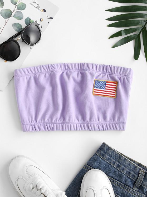 women American Flag Patched Bandeau Top - LIGHT PURPLE M