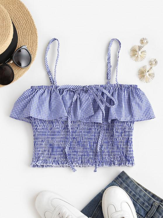 Gingham Ruffles Smocked Cami Top - أزرق L