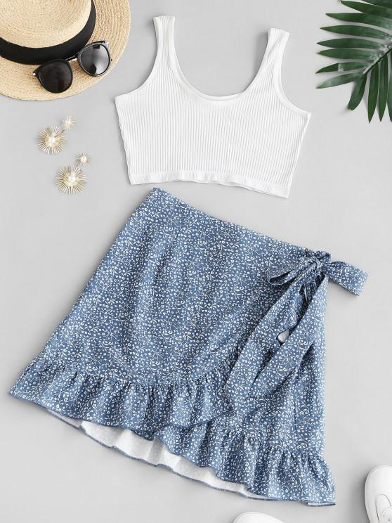 fashion Ribbed Ditsy Floral Ruffles Two Piece Dress - BLUE M