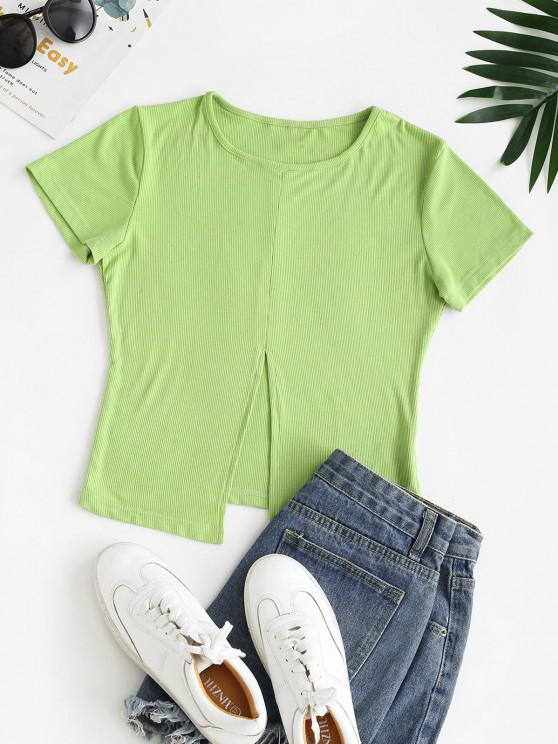 buy Solid Ribbed Front Slit Tee - LIGHT GREEN M