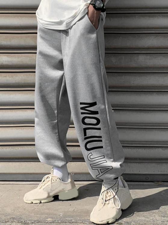 Letter Print Toggle Drawstring Casual Pants - رمادي فاتح M