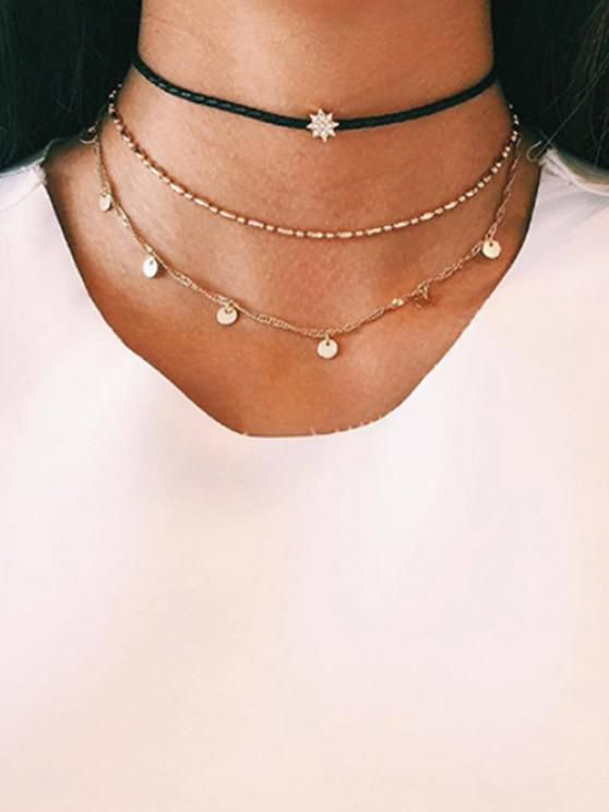 hot Alloy Three Layers Star Choker Necklace - GOLDEN