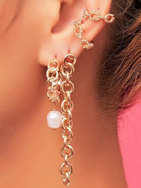 sale Chain Ear Clip Earring And Long Drop Earring Set - GOLDEN