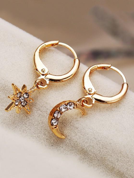 affordable Star Moon Rhinestone Asymmetrical Clip Earrings - GOLDEN