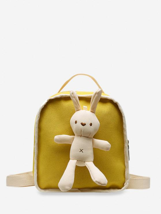 outfit Cute Rabbit Canvas Small Backpack - YELLOW