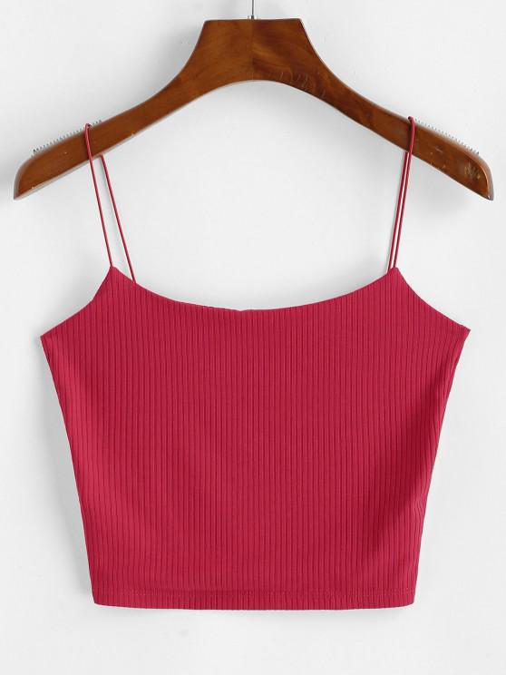 best Plain Ribbed Bungee Cami Top - RED S