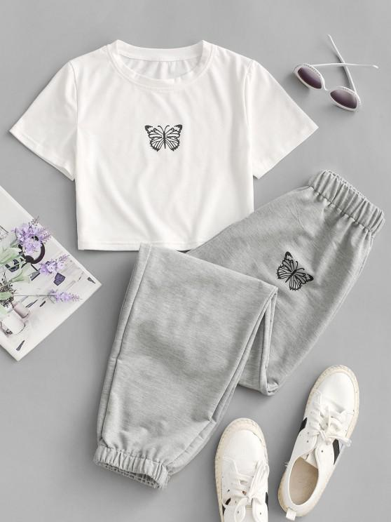 outfit Butterfly Graphic Two Piece Jogger Pants Set - GRAY L
