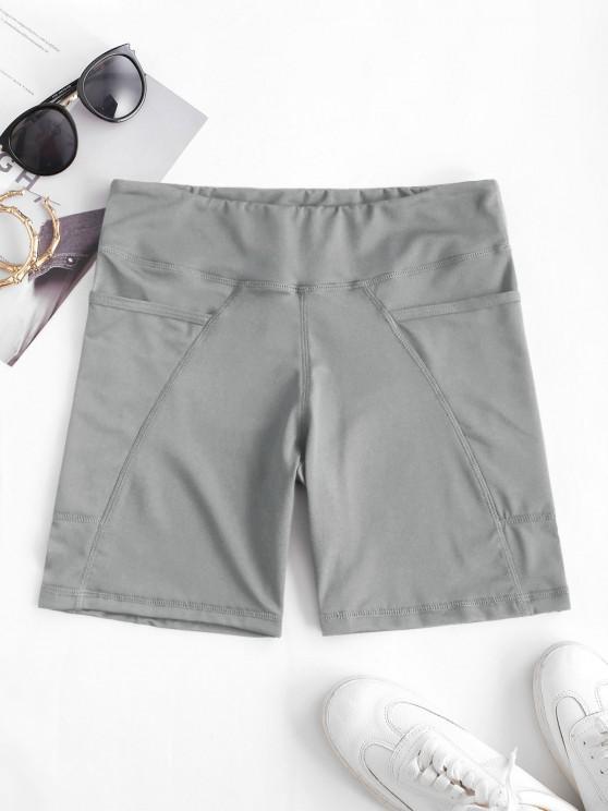 unique High Rise Pocket Stretchy Biker Shorts - LIGHT GRAY L