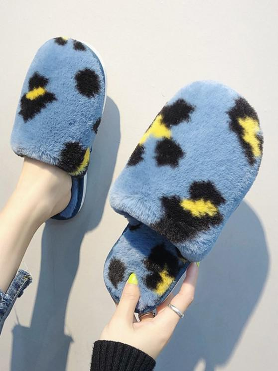 chic Leopard Print Plush Indoor Slippers - DODGER BLUE EU 38