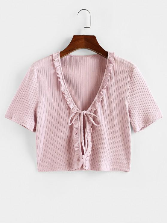 shops ZAFUL Ruffle Front Tie Ribbed Crop Tee - LIGHT PINK S