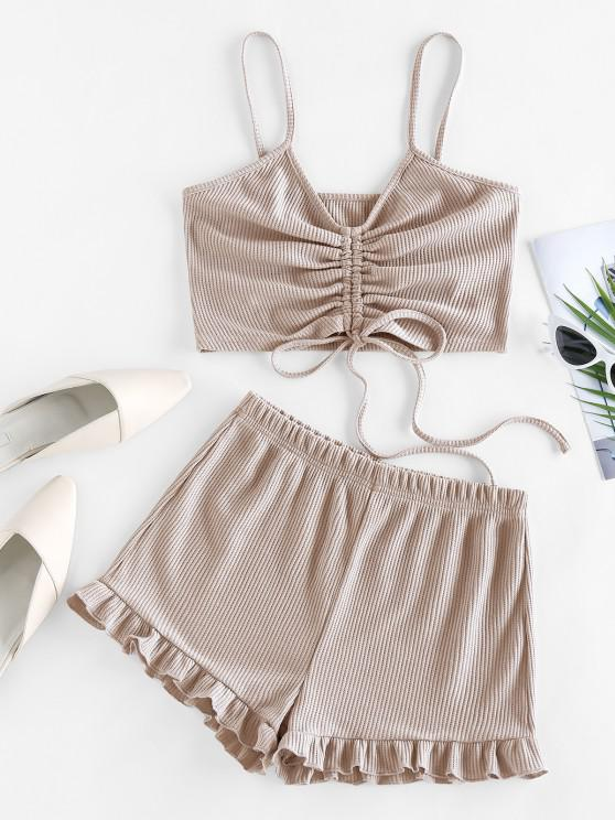 ZAFUL Cinched Ribbed Flounce Two Piece Shorts Set - أصفر فاتح M