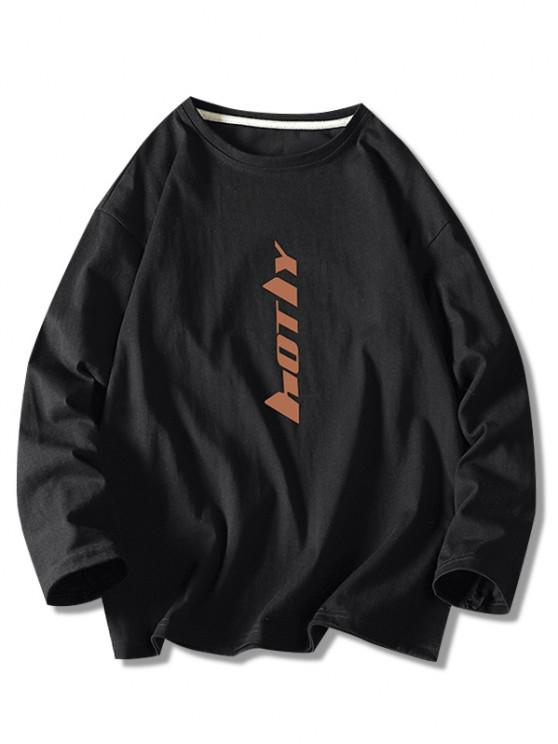 Letter Print Long Sleeve Basic T Shirt - أسود 4XL
