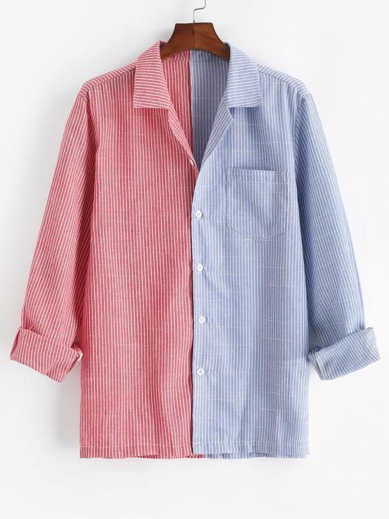 women Contrast Striped Print Button Up Pocket Shirt - RED L