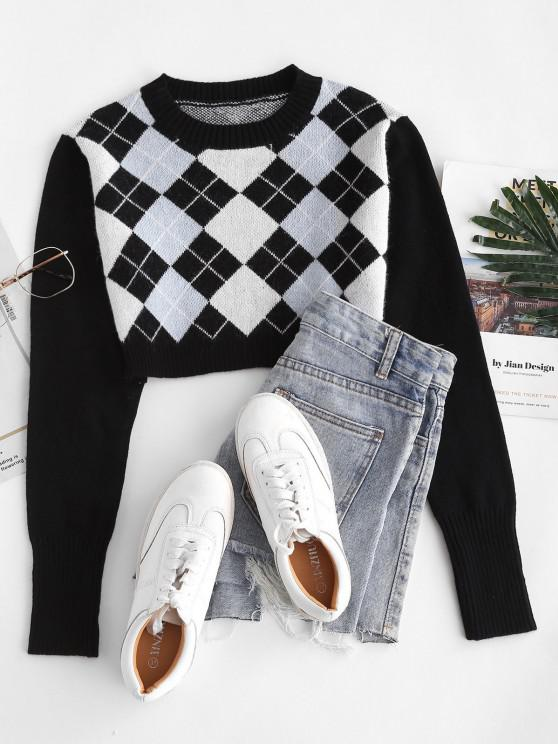 affordable Argyle Crop Jumper Sweater - BLACK ONE SIZE
