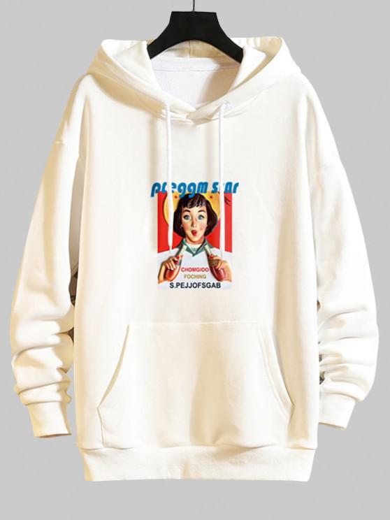 fashion Girl Graphic Print Drop Shoulder Hoodie - WHITE 2XL