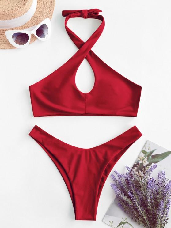 fashion ZAFUL Halter Keyhole High Leg Bikini Swimwear - RED S