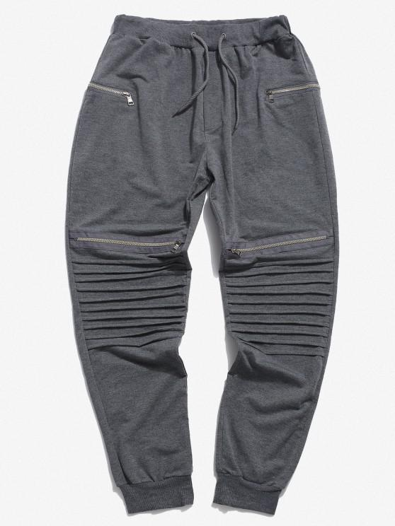 Pleated Patch Knee Zipper Jogger Sweatpants - رمادي فاتح 3XL