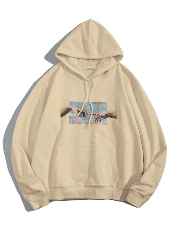 affordable Helping Hands Graphic Front Pocket Lounge Hoodie - LIGHT COFFEE M