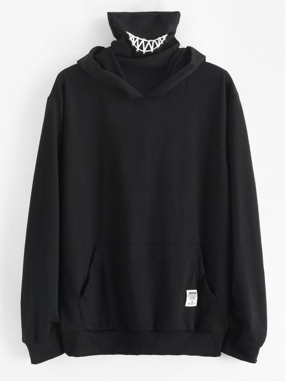 Kangaroo Pocket Letter Applique Double Collar Hoodie - أسود M