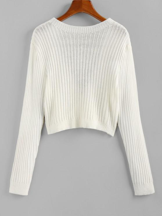 lady ZAFUL Open Back Ribbed Crop Jumper Sweater - WHITE L