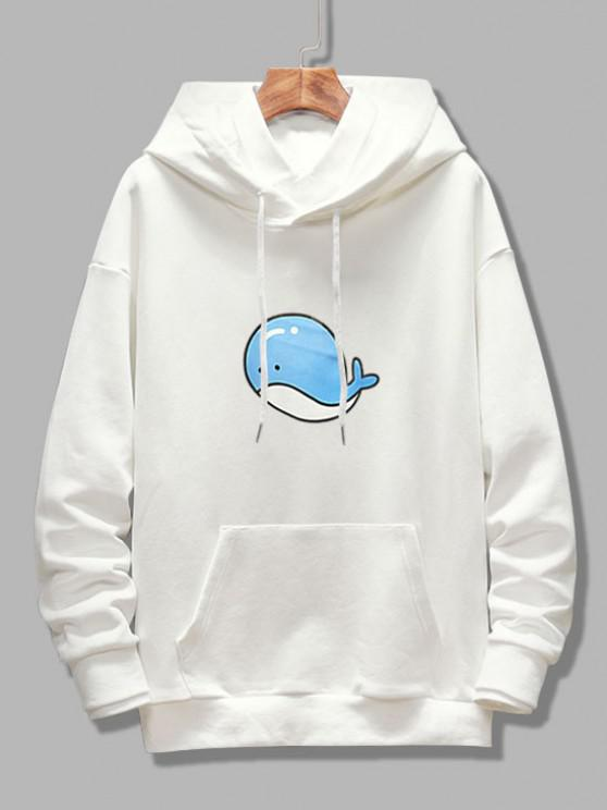 chic Dolphin Print Drop Shoulder Hoodie - WHITE S