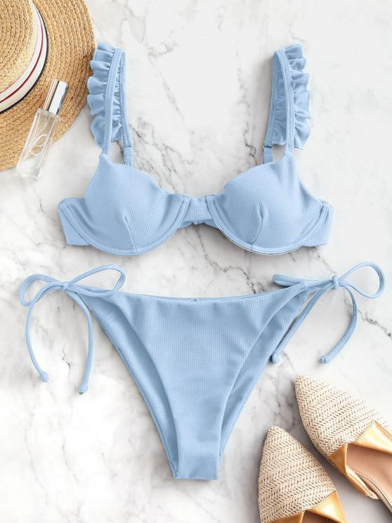 ZAFUL Frilled Textured Tie Underwire Bikini Swimsuit - أزرق فاتح M