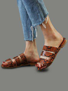 Snakeskin Pattern Beach Slides Sandals - Brown Eu 41