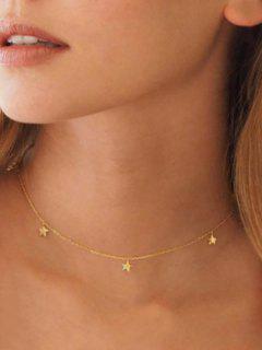 Star Chain Collarbone Necklace - Golden