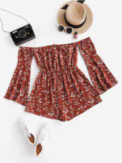 ZAFUL Floral Flare Sleeve Off Shoulder Wide Leg Romper - Red S