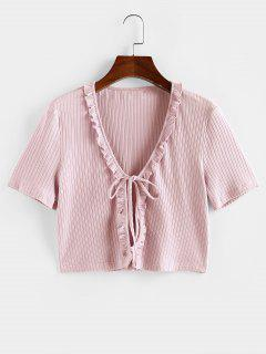 ZAFUL Ruffle Front Tie Ribbed Crop Tee - Light Pink L