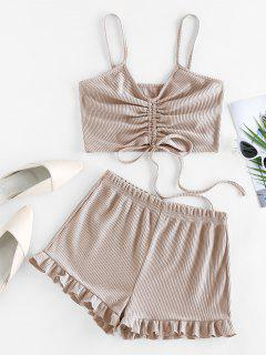 ZAFUL Cinched Ribbed Flounce Two Piece Shorts Set - Light Yellow M