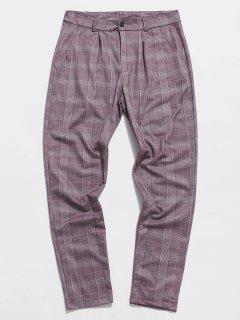 Plaid Print Tapered Casual Pants - Purple 2xl