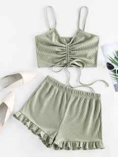 ZAFUL Cinched Ribbed Flounce Two Piece Shorts Set - Light Green M