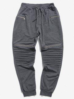 Pleated Patch Knee Zipper Jogger Sweatpants - Light Gray 3xl