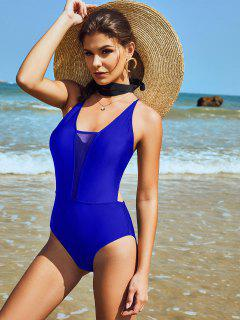 ZAFUL Mesh Panel Crisscross Monokini Swimsuit - Blue L