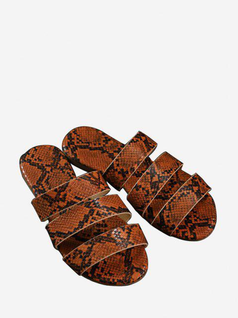Snakeskin Pattern Beach Slides Sandals - Castanho UE 41 Mobile