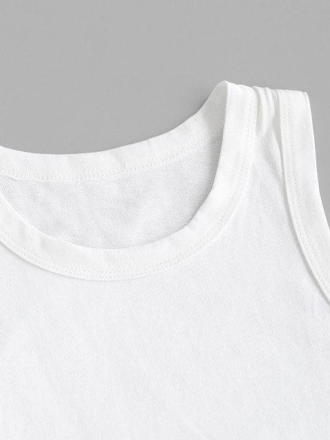 Débardeur Court Simple à Ourlet Brut - Blanc S Mobile