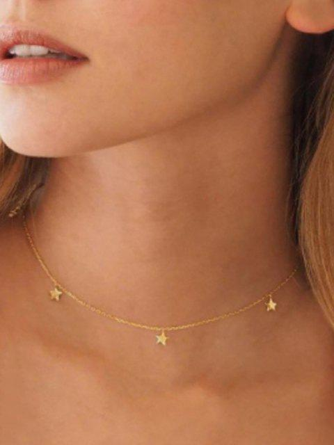 lady Star Chain Collarbone Necklace - GOLDEN  Mobile