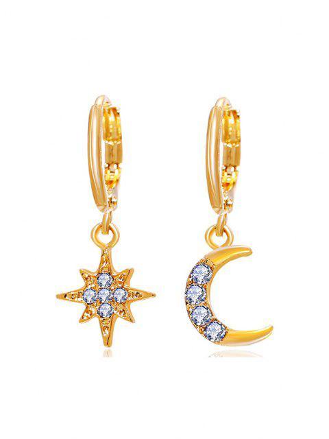 affordable Star Moon Rhinestone Asymmetrical Clip Earrings - GOLDEN  Mobile