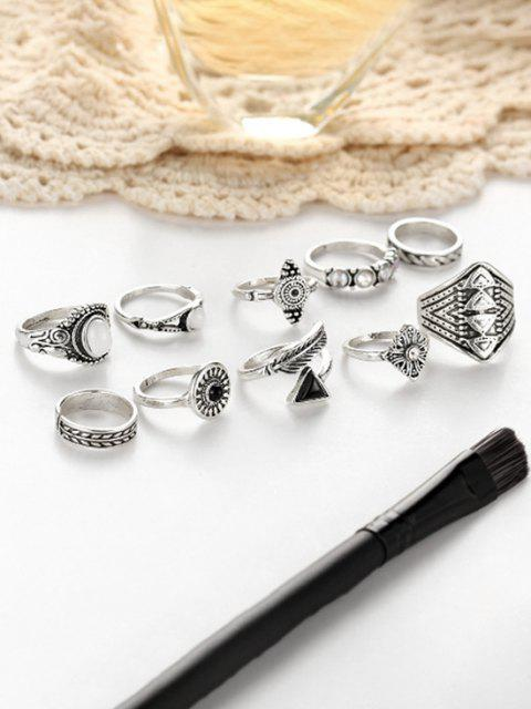 women 10 Piece Ethnic Engraved Rhinestone Wide Finger Rings Set - SILVER  Mobile