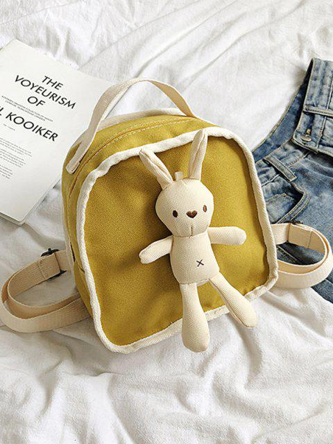 outfit Cute Rabbit Canvas Small Backpack - YELLOW  Mobile