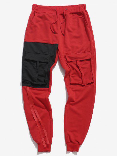 Pantalones Deportivos Ajustado Multi Bolsillos Contraste - Rojo 2XL Mobile