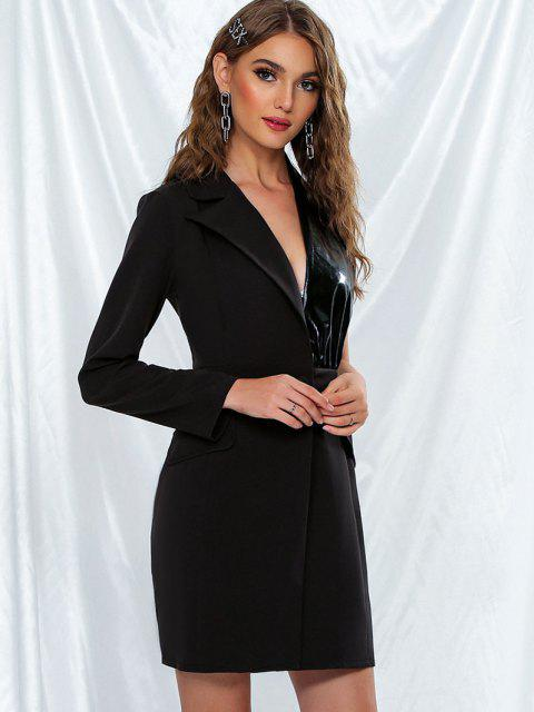 outfits Coated Panel Asymmetrical One Shoulder Blazer - BLACK S Mobile