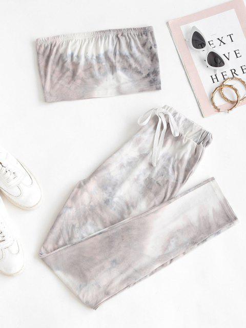online Tie Dye Bandeau Drawstring Two Piece Set - GRAY S Mobile