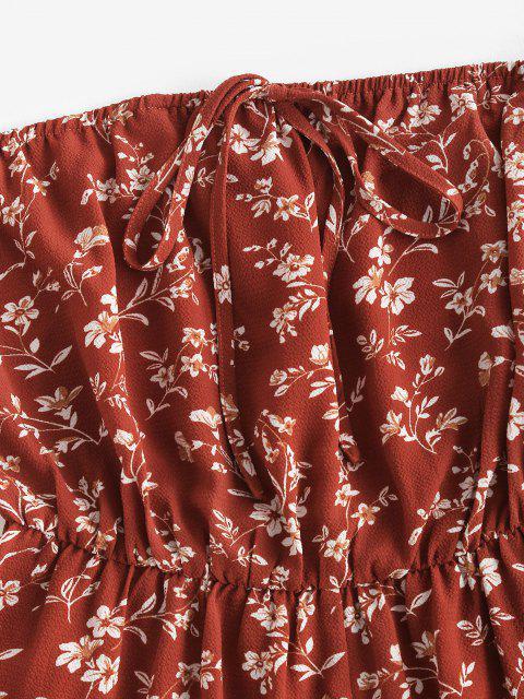 lady ZAFUL Floral Flare Sleeve Off Shoulder Wide Leg Romper - RED M Mobile